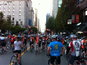 Gathering at the start, 2012 Whistler GranFondo