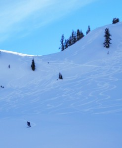 Skiing the chutes