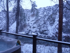 River's Edge hot tub in the snow